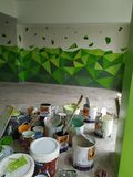 3D painting parking wall stock images