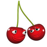 3d Pair of cherries smiling at each other Stock Images