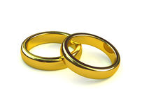 3d Pair of gold engagement rings Stock Photo