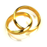 3d Pair of gold rings entwined Stock Photos