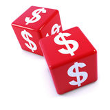 3d Pair of red US Dollar currency symbol dice Stock Photography