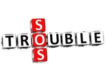 3D palavras cruzadas do problema SOS Imagens de Stock