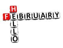 3D palavras cruzadas olá! fevereiro no fundo branco Imagens de Stock Royalty Free