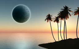 3D palm tree island with planet in the sky Royalty Free Stock Photography