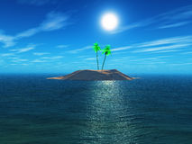 3d Palm tree island Royalty Free Stock Photography