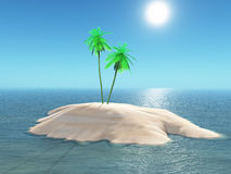 3D Palm tree island. 3D render of a palm tree island in the sea Stock Photography