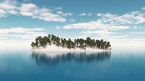 3D palm tree island Royalty Free Stock Photo