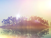 3D palm tree island with retro effect Stock Photography
