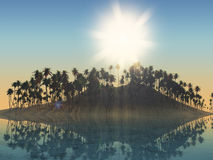 3D palm tree island with sunny sky Royalty Free Stock Images
