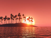 3D palm tree island at sunset Stock Images
