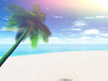 3D Palm tree landscape with retro effect Stock Images