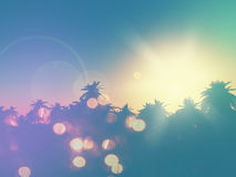 3D palm tree landscape with retro effect Royalty Free Stock Photography