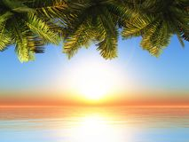 3D palm tree leaves against a sunset ocean landscape. 3D render of palm tree leaves against a sunset ocean landscape stock illustration