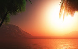 3D Palm tree sunset ocean Stock Photo