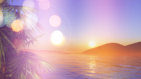 3D palm trees at sunset with retro effect Stock Photos