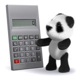 3d Panda bear calculates. 3d render of a baby panda bear with a calculator Royalty Free Stock Photography