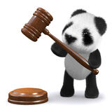 3d Panda bear with gavel Stock Image