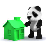 3d Panda bear with a green house. 3d render of a panda bear next to a green house Royalty Free Stock Photography