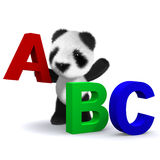 3d Panda bear learns the alphabet. 3d render of a panda bear with the lettters A,B,C Royalty Free Stock Photo