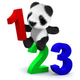 3d Panda bear learns to count. 3d render of a baby panda bear with numbers Stock Photo