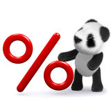 3d Panda bear with a percentage symbol Stock Photography