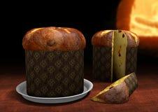 3D Panettone met een oven op de achtergrond Royalty-vrije Stock Afbeeldingen
