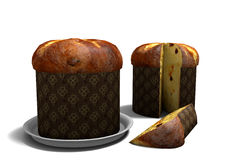 3D Panettone on white background Royalty Free Stock Photo