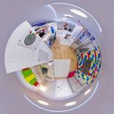3d panorama da ilustração 360 da sala do ` s das crianças Imagem de Stock Royalty Free