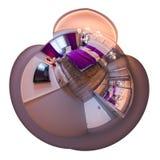 3d panorama de l'illustration 360 d'intérieur de chambre à coucher Image libre de droits