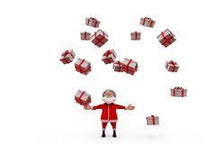 3d Papai Noel conceito de muitos presentes Fotos de Stock Royalty Free