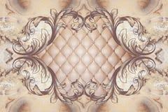 3d papel de parede, quadro da decoração do estuque, de couro do efeito acolchoado abotoado ilustração royalty free