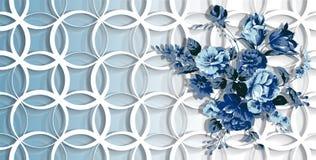 3d papel pintado, flores azules en fondo de los anillos ilustración del vector