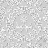 3D paper art pattern spiral round frame pigeon flower Stock Photos