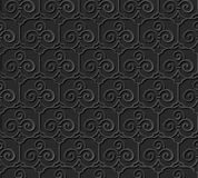 3D paper art pattern trefoil curve spiral cross frame Stock Photo