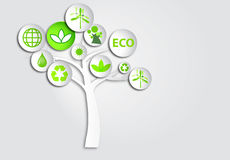 3d paper circle buttons ecology symbols on tree Stock Images