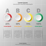 3D paper circle with colorful percentage level for website presentation cover poster design infographic illustration. Concept royalty free illustration