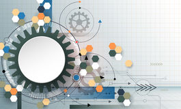 3D paper circle with gear wheel, hexagons and circuit board Stock Photography