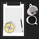3d paper cliped clipboard , pen , cups and compass concept Stock Images