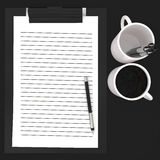 3d paper cliped clipboard , pen , cups  concept Royalty Free Stock Photos