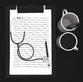 3d paper cliped clipboard , pen , cups- stethoscope concept Stock Image
