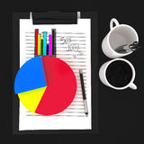 3d paper cliped clipboard - pie chart and bar graph statics concept Royalty Free Stock Photography
