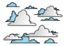 3D paper. Clouds. Stylized sky. children`s drawing. royalty free illustration
