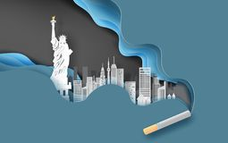 3d paper craft and art of cigarette with cityscape concept.Abstract curve wave blue background,Cityscape in new york usa. Creative. Design smoking idea pastel stock illustration