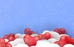 3d paper cut illustration of 3d glossy red balloon hearts on blue background with clouds. Vector Royalty Free Stock Photography