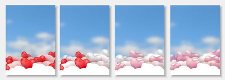 3d paper cut illustration of 3d glossy red, pink and white balloon hearts on blue background with clouds. Vector Stock Image
