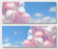3d paper cut illustration of 3d glossy pink and white balloon hearts on blue background with clouds. Vector Stock Photography