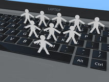 3d paper cut people on laptop Royalty Free Stock Photo