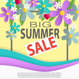 3d paper flowers poster with summer collection special offer headline at the center vector illustration Stock Images