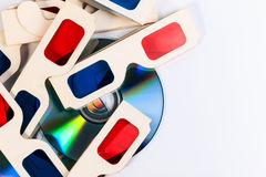 3D paper glasses and DVD disc. Stock Image