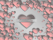 3D paper heart on a gray background. Postcard Valentine`s Day. Royalty Free Stock Photos